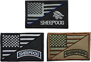 SpaceCar Bundle 3pcs Decorative Sheepdog w/ USA American Flag Thin Blue Line Embroidered Military Army Tactical Morale Badge Emblem Decal Patch 3