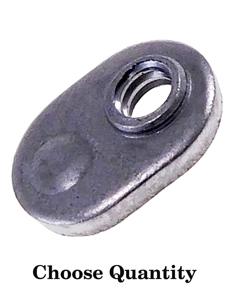 Single Tab Weld Nut with Target - Spot Weld Nuts #10-24 - Weld Nuts/Spot/Offset Hole - Low Carbon Plain Steel (25)