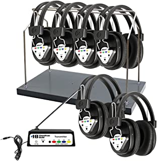Hamilton Buhl Wireless 6 Person Listening Center with Multi-Frequency Transmitter, Wireless Headphones and Rack