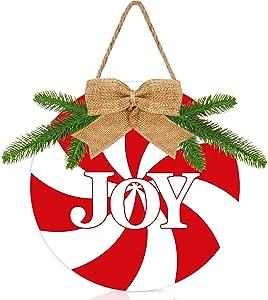 Preboun Christmas Decorations Joy Sign Rustic Buffalo Plaid Christmas Wreath Peppermint Candy Round Burlap Decor Christmas Door Hanging Sign for Xmas Wall Decor Home Window Farmhouse Indoor Outdoor