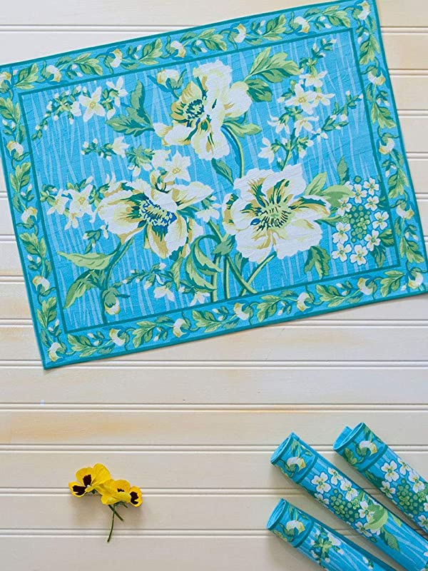 April Cornell Blue Water Lily Print 100 14 X 20 Inch Cotton Placemats Set Of 4