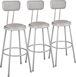Learniture Heavy Duty Padded Metal Lab Stool with Backrest, 36