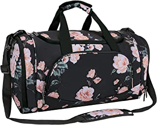 MOSISO Water Resistant Gym Sports Dance Travel Weekender Duffel Bag with Shoe Compartment, Black Base Peony