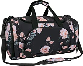 MOSISO Sports Duffel with Shoe Compartment Pattern Men/Women Dance Travel Weekender Gym Bag, Black Base Peony