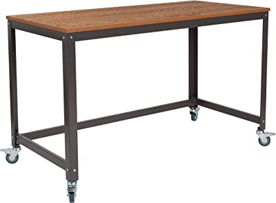 Flash Furniture Livingston Collection Computer Table and Desk in Brown Oak Wood Grain Finish with Metal Wheels