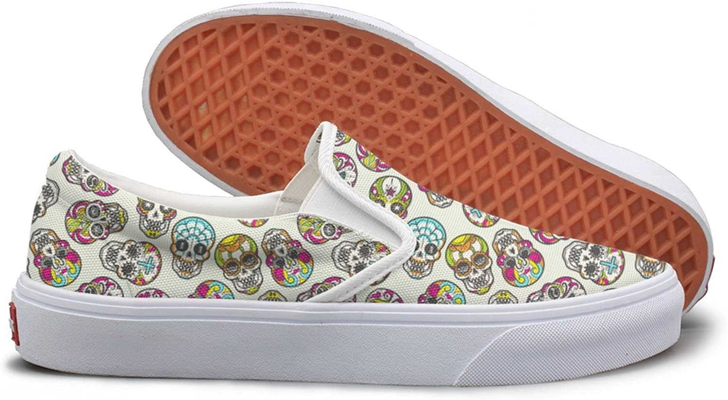 Lalige colorful Mexican Skull Womens Stylish Canvas Slip-ons Walking shoes