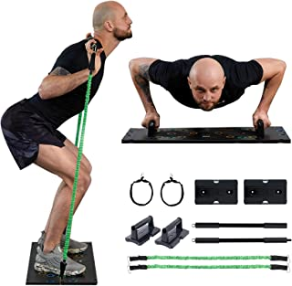 ZELUS Portable Home Gym Set with Folding Base, Resistance Bands with Handles and Bar, Straps, Ab Rollers | Home Gym Equipment for Cardio and Strength Training | Fitness Equipment for Home and Office