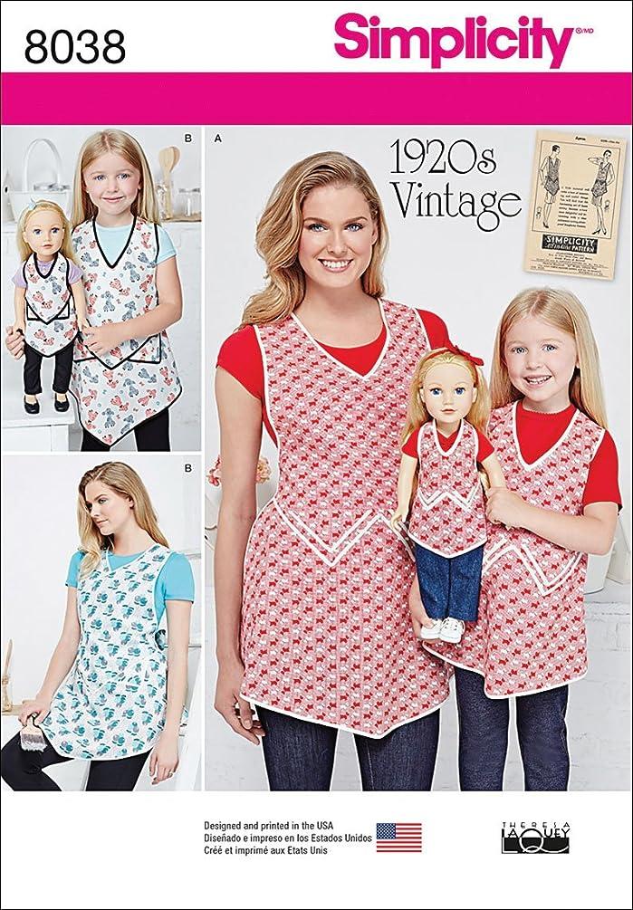 Simplicity Patterns Misses, Child & 18 Inch Doll Vintage Aprons Size: A (S - L/S - L), 8038