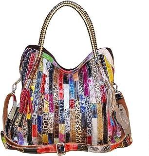 Segater® Damen Multicolor Einkaufstasche Echtes Leder Handtasche Bunte Patchwork Große Umhängetasche Shopper Taschen Große...
