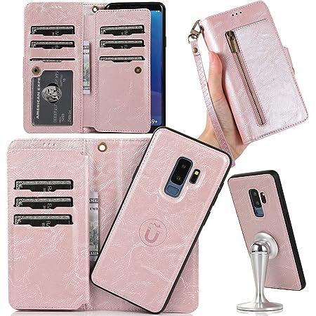 Auker Funda tipo cartera desmontable para Galaxy S9 Plus, funda para S9 Plus con 9 tarjeteros/correa, resistente a los golpes, protección completa de cuerpo completo, estilo vintage, de piel, plegable, con cierre magnético, para mujer
