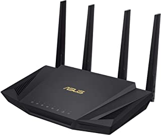 ASUS RT-AX56U, AX1800 Dual Band WiFi 6 (802.11ax) Router supporting MU-MIMO and OFDMA technology, with AiProtection Pro ne...