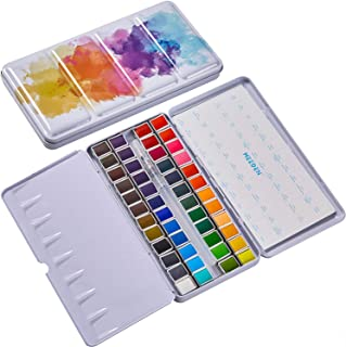 MEEDEN Watercolor Paint Set, 48 Vibrant Colors in Pocket Box, Watercolor Paint Palette with Metal Ring and Watercolor Brus...