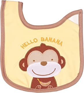 Little Fish Monkey Embroidered Baby Bib - Multi Color