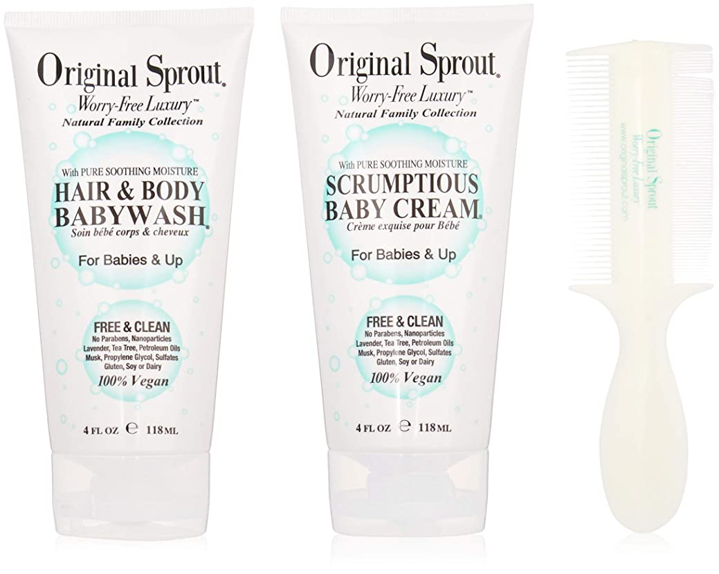 別に気怠いやさしくOriginal Sprout Baby's First Bath Kit: 1x Hair & Body Baby Wash 118ml + 1x Scrumptious Baby Cream 118ml + 1x Comb (For Babies & Up) 3pcs並行輸入品