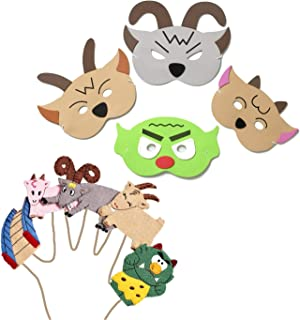 Blue Frog Toys Billy Goats Gruff Mask and Finger Puppet's - Bedtime Story Time Nursery Rhyme