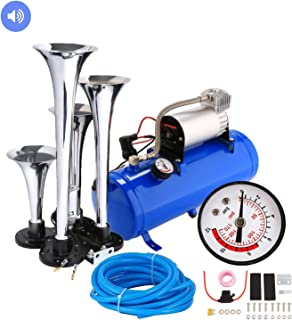 Aceshin 4 Trumpet Vehicle Air Horn with 12 Volt Compressor and Hose 150 dB Train 120PSI Kit Set