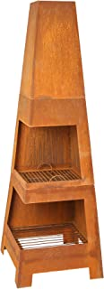 HEIZA Gartenkamin MGK-250 Terrassenofen Gartenofen, Stahl Unlackiert, mit Rostschicht, mit Aschebehälter u. Brennholzfach, 50 x 150 x 50 cm B x H x T