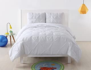 My World LHK-COMFORTERSET Pleated Solid White Twin XL Comforter Set, X-Large