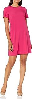 Lark & Ro Women's Florence Short Sleeve Sweater Trim Dress
