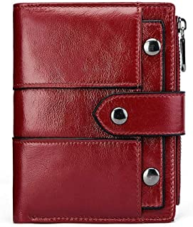 Mens Leather Bag RFID Women's Wallet Leather Wallet Fashion Short Buckle Zipper Wallet Cowhide Shopping Coin Purse Bag (Color : Red)