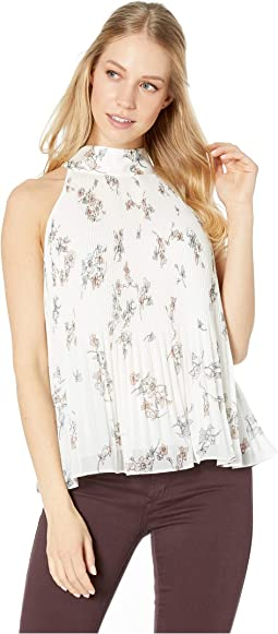 Halter Tie Pleated Floral Belle Blouse