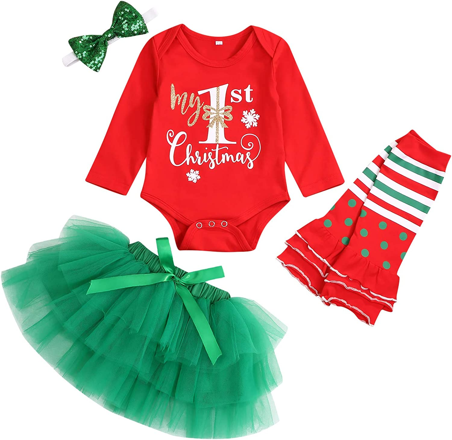 My First Christmas Outfit Baby Girl Long Sleeve Romper and Tutu Skirt Leg Warmers with Headband 4PCS Clothes Set