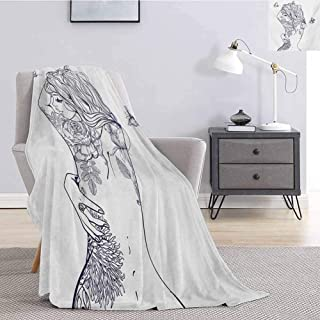 Girls Flannel Throw Blanket for Couch Young Girl with Tattoos and Butterflies Free Your Soul Inspired Long Hair Feminine Super Soft Cozy Queen Blanket W60 x L80 Inch Purple White