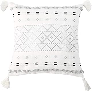 Moroccan Boho Decorative Throw Pillow Cover 18X18 Inch, Super Soft Woven Comfy Tufted Pillowcase with Tassels, Classic Pat...