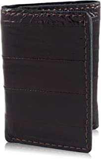 Genuine Eel Skin Leather Trifold Wallet with 9 Card Slots