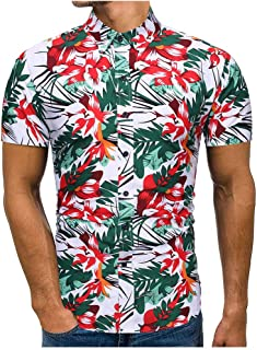 SPE969 Men's Button Down Printed Shirt, Spring Summer Casual Slim Printed Short Sleeve Shirts Top Beach Blouse