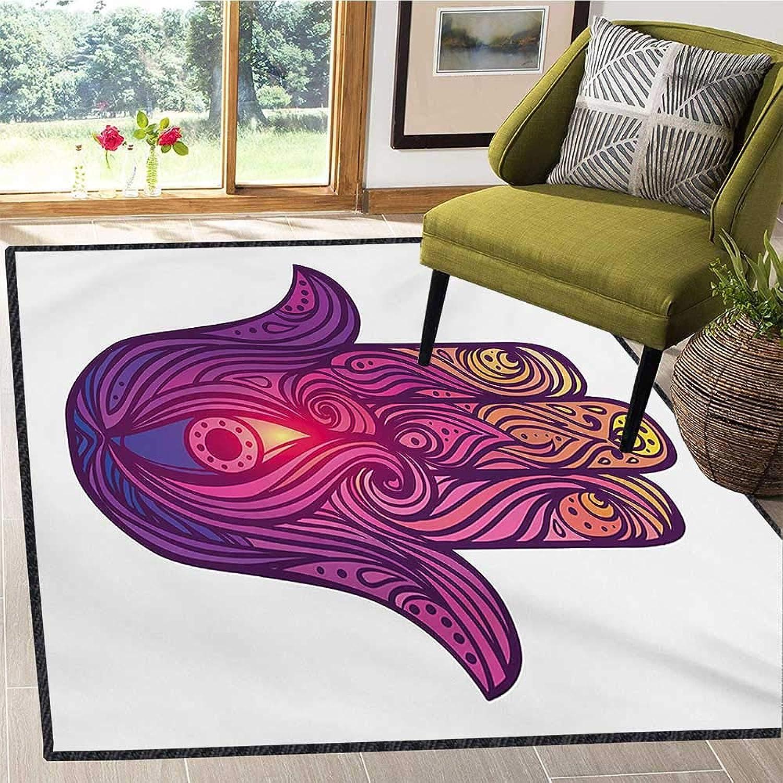 Hamsa, Door Mats for Inside, Vivid Floral Swirls Symbol of Aura Energy Flow Harmony Health Doodle, Door Mats for Inside Non Slip Backing 6x7 Ft purple Pale Pink Peach