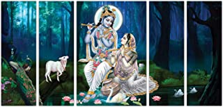 Art Amori Lord krishna and radha with cows set of 5 MDF Painting Multicolour 12x18 Inch - 1 Piece + 6x18 Inch-4 pieces for...