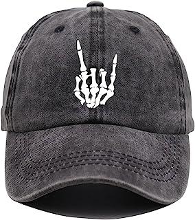Skeleton Hand Hat, Skull Finger Baseball Cap Adjustable Washed Distressed Denim for Men Women