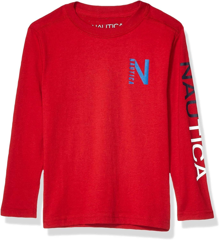 Nautica Boys' Long Sleeve Chest Logo Graphic T-Shirt