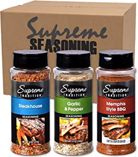 Grilling Barbecue Seasoning Variety Gift Set | Steakhouse Grill Seasoning, Memphis Style BBQ Rub, & Garlic & Pepper Spices | For Beef Meat Chicken Fish Pork hamburger (Grill Mate)