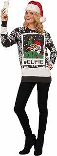 Forum Novelties Mens 77722/23/24 Ugly Christmas Sweater, Elfie Adult-Sized Costume - Multi - Medium Black/White
