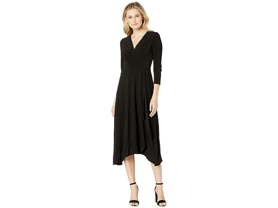 Taylor V-Neck Solid Wrap Midi Dress (Black) Women