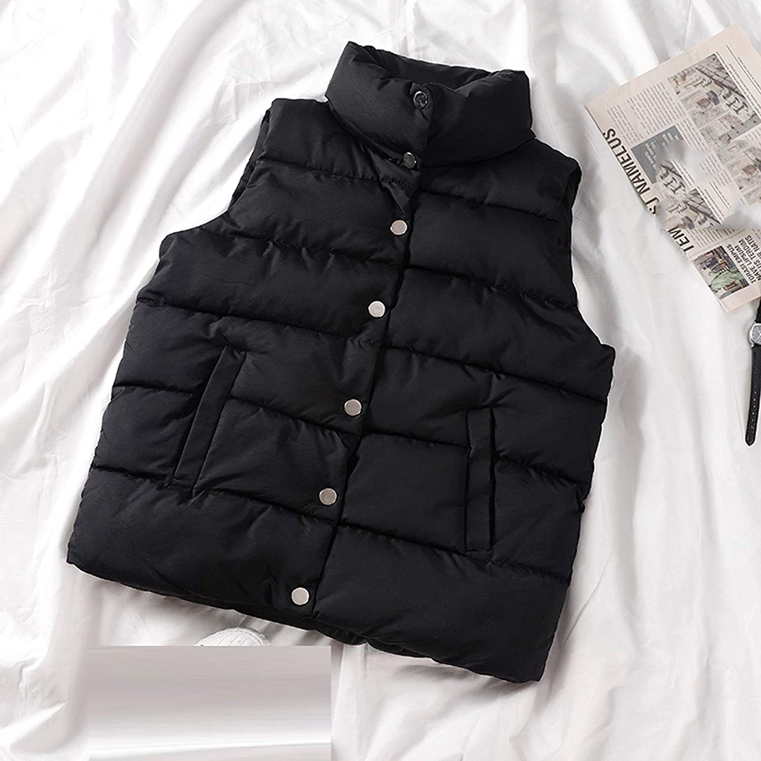 with Buttoned and Pocket Solid Color Sleeveless Puffer Vest Mikey Store Womens Lightweight Long Down Vest Full Zipper