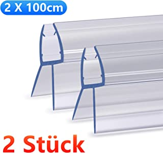 NASHONE Junta de ducha impermeable para cabinas de ducha para cristal recto de 4 – 6 mm con un máximo de 20 mm (2 x 100 cm)