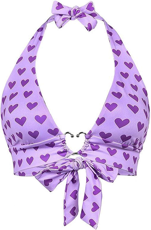 ranrann Womens Fashion Heart Printed Bikini Tops Backless Lace-up Halter Crop Tops Beachwear