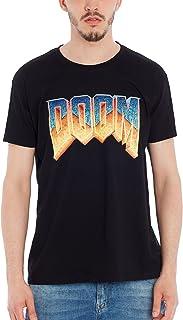 DOOM - T-shirt con scollo tondo, Uomo, Nero (Black), L
