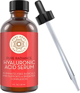 Hyaluronic Acid Serum for Face - 100% Pure Hyaluronic Acid with Vitamins C & E - Non-Greasy + Non-Comedogenic Formula, Age Defying, Wrinkle Reducing Facial Serum by Pure Body Naturals