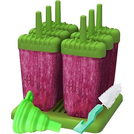 Juego de Moldes para paletas de hielo, 6 Piezas. Moldes de paletas de hielo Scabia. Incluye embudo de silicona y cepillo de limpieza gratis. BPA Free.