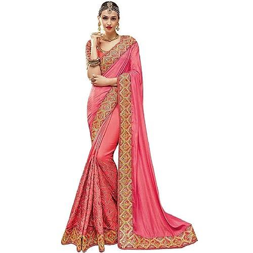 bf65981181f766 Magneitta Women's Ethnic Wedding And Party Wear Heavy Handwork Designer Sari  Free Size Pink