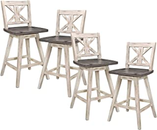 Homelegance Amsonia 24 Inch 360 Swivel Bar Pub Kitchen Counter Height High Dining Chair Stool Set, Distressed White and Gr...