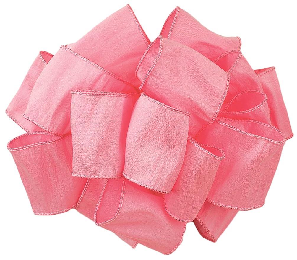 Offray Wired Edge Anisha Craft Ribbon, 2-1/2-Inch Wide by 10-Yard Spool, Pretty Pink
