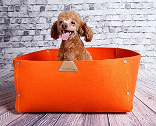 JPTACTICAL Felt Wool Pet Bed   Solid Color Cats Bed Dog Bed  Used as Both Cozy Dog/Cat Caves and Pet Blanket   for Cat Rabbit,Teddy Dog,Schnauzer,Bichon. (Orange)