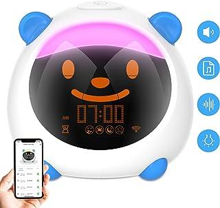 WiFi Smart Kids Alarm Clock, Dostyle Intelligent Children's Trainer, Wake Up Alarm Clock, 7 Color Night Light Sleep Sounds Machine, Works with Alexa & Google Home, Digital Alarm Clock for Kids Bedroom