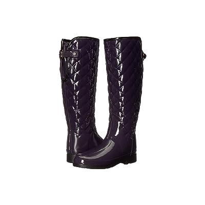 Hunter Refined Gloss Quilt Tall Rain Boots (Aubergine) Women