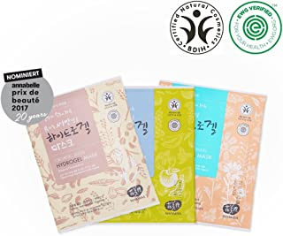 Whamisa Organic Facial Mask 33g x3 (Flowers & Aloe Vera + Fruits & Tomato + Seeds & Rice Fermented Hydrogel, PACKAGING MAY VARY) - EWG Verified